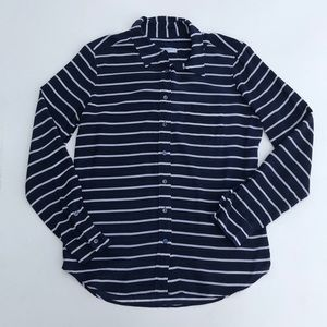 Equipment Femme SILK blue stripe top Size medium